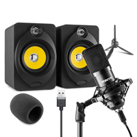 Vonyx Home Studio Setup with Desktop Speakers & Studio Microphone