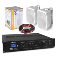 """PD ISPT5W 5"""" 100V Wall Speakers & PRM60 Amplifier, Pair"""