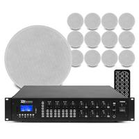 "PD FCS5 5.25"" Ceiling Speakers & PRM606 Amplifier, Set of 12"