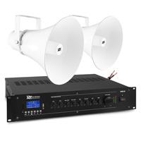 PD HSR30 100V Round Horn Speakers & PRM120 Amplifier, Pair