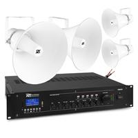 PD HSR30 100V Round Horn Speakers & PRM120 Amplifier, Set of 4