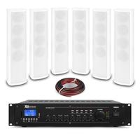 PD ICS4 Column Wall Speaker White & PRM240 Amplifier, Set of 6