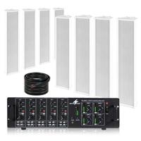 PD OCS5 Outdoor Column Wall Speaker & PA-12040 Amplifier, Set of 8