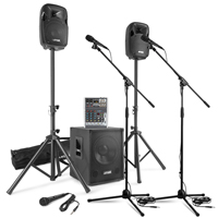 Max MX-700 Active PA Speaker, Subwoofer with Mixer & Mics