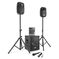 Max MX-700 Active PA Speaker, Subwoofer & Mixer