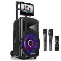 Portable Karaoke Speaker Set with Mics & Tablet Mount - Fenton FT-10LED