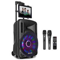 Fenton FT-12LED Portable Karaoke Speaker Set with Microphones & Tablet Mount