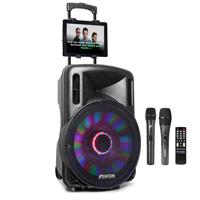 Fenton FT-15LED Portable Karaoke Speaker Set with Microphones & Tablet Mount