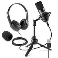 Vonyx CM300B Home Studio Recording Microphone & VH100 Headphone Set