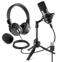 Vonyx CM300B Home Studio Recording Microphone & VH120 Headphone Set