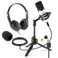 Vonyx CM300W Home Studio Recording Microphone & VH100 Headphone Set
