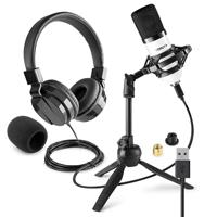 Vonyx CM300W Home Studio Recording Microphone & VH120 Headphone Set