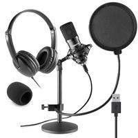 Vonyx CMTS300 Home Studio Recording Microphone & VH100 Headphone Set