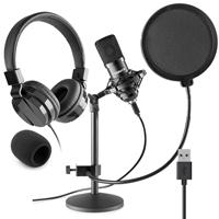 Vonyx CMTS300 Home Studio Recording Microphone & VH120 Headphone Set