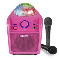 Vonyx SBS50-P Karaoke Machine Pink Bluetooth Party Speaker Set with Microphones