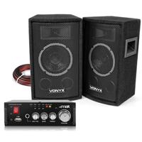 """Vonyx SL6 6"""" Passive PA Speakers Pair & AV340 Amplifier"""