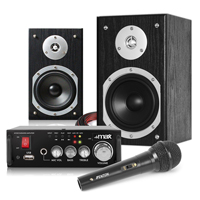 "Fenton SHFB55B 5"" Hi-Fi Bookshelf Speaker Set, AV340 Amplifier & Microphone"