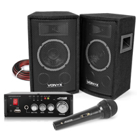 Vonyx SL6 Home Karaoke Party Speaker Set with Microphone, Bluetooth