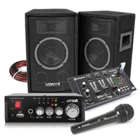 Vonyx SL6 Speakers, AV340 Amplifier, Mixer with Microphone