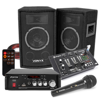 Vonyx SL6 Speakers, AV344 Amplifier, Mixer with Microphone