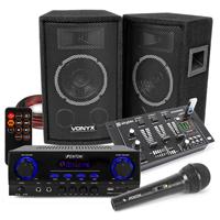 Vonyx SL6 Speakers, AV440 Amplifier, Mixer with Microphone