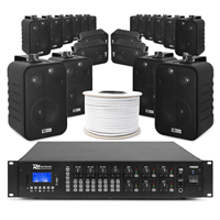 6-Zone Background Music System with BV40V Black Wall Speakers & PRM606 Amplifier Pair