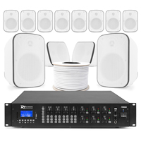 6-Zone Background Music System with BD50TW White Wall Speakers & PRM606 Amplifier, Set of 12