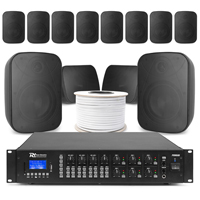 6-Zone Background Music System with BD50TB Black Wall Speakers & PRM606 Amplifier, Set of 12
