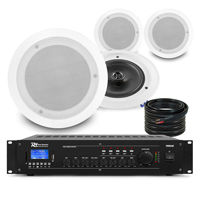 """PD CSAG8T 8"""" Ceiling Speaker, 100V Line & PRM240 Amplifier, Set of 4"""
