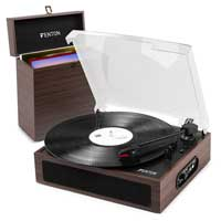 Record Player with Built in Speakers + Dark Wood Case - Fenton RP170D