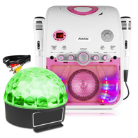Fenton SBS20P Karaoke Machine Player TV System with Microphones & Lights