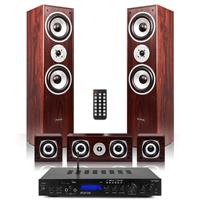 Fenton 5.0 Surround Sound Speakers with Bluetooth Amplifier, Walnut