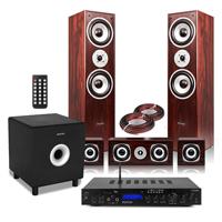 Fenton 5.1 Surround Sound Speakers with Subwoofer & Amplifier, Walnut