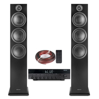 Fenton SHF80B HiFi Tower Speakers Set with AS-6060 Bluetooth Amplifier, Black