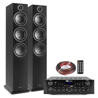 Fenton SHF80B HiFi Tower Speakers Set with PV220BT Bluetooth Amplifier, Black