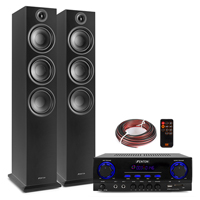 Fenton SHF80B HiFi Tower Speakers Set with AV440 Bluetooth Amplifier, Black