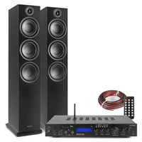 Fenton SHF80B HiFi Tower Speakers Set with AV-150BT Bluetooth Amplifier, Black
