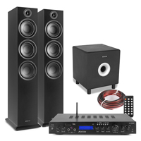 Fenton SHF80B HiFi Tower Speakers Set with AV-150BT Bluetooth Amplifier & Subwoofer, Black