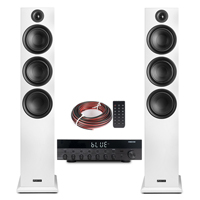 Fenton SHF80W HiFi Tower Speakers Set with AS-6060 Bluetooth Amplifier, White
