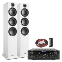 Fenton SHF80W HiFi Tower Speakers Set with PV220BT Bluetooth Amplifier, White