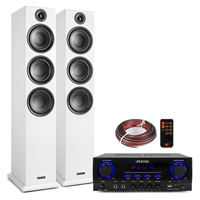 Fenton SHF80W HiFi Tower Speakers Set with AV440 Bluetooth Amplifier, White