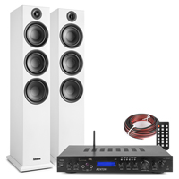 Fenton SHF80W HiFi Tower Speakers Set with AV-150BT Bluetooth Amplifier, White