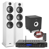 Fenton SHF80W HiFi Tower Speakers Set with AV-150BT Bluetooth Amplifier & Subwoofer, White