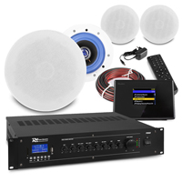 """PD ESCS 5"""" Ceiling Speaker System with Bluetooth WiFi Internet Radio & PRM60 Amplifier, Set of 4"""