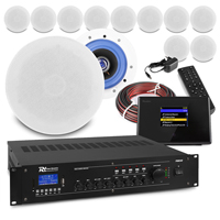 """PD ESCS 5"""" Ceiling Speaker System with Bluetooth WiFi Internet Radio & PRM240 Amplifier, Set of 12"""