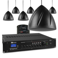 6 x Black Hanging Sound System - Commercial - Warehouse Solution