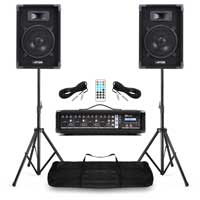 """PA System for Small Church - 8"""" PA Speakers & 4 Channel Powered Mixer"""