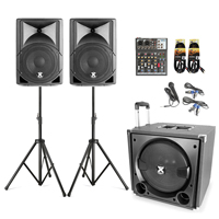 PA System for Small Church with Mixer, Stands & Mic - Vonyx VX800 2.1