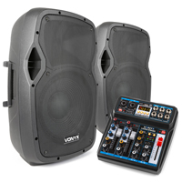 """Vocalist PA System - 12"""" Active Speakers & PA Mixer - 1200W"""