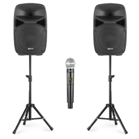 Professional Karaoke Setup with Wireless Mics & Stands - Vonyx VPS122A